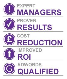 Image showing reasons to choose Click Convert for account management. The reasons are expert managers, proven results, cost reduction, improved roi and adwords qualified